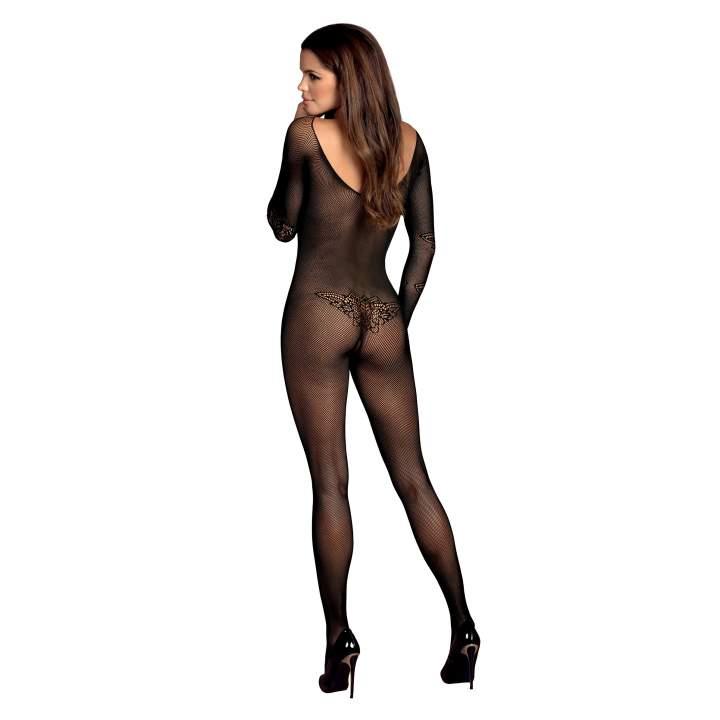Czarny, zabudowany siateczkowy kostium Obsessive N120