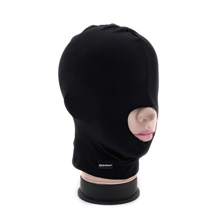 Czarna maska na twarz z jednym otworem na usta dla niej i dla niego