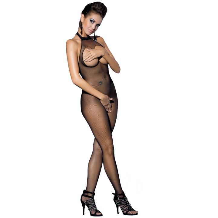 Efektownie pobudzający czarny siateczkowy kostium Obsessive N101