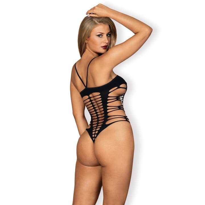 Czarne Body Obsessive B122 elastyczne, całe w seksowne wcięcia