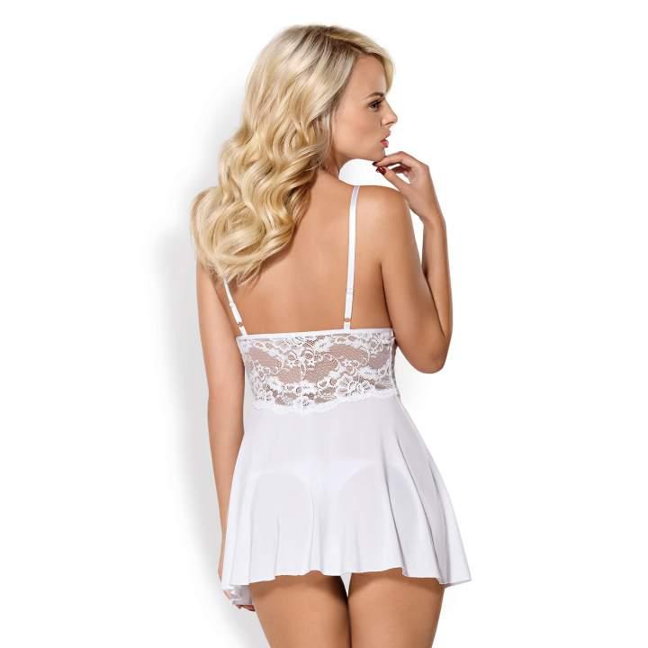 Niewinna i delikatna biała koszulka Babydoll Obsessive 810-BAB ze stringami
