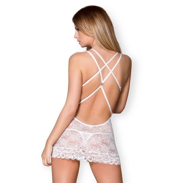Biała koszulka nocna Obsessive 860-CHE w komplecie ze stringami