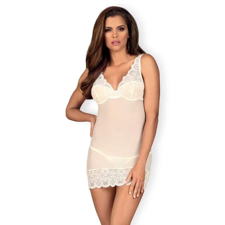Biała koszulka Obsessive 853-CHE-2  w zestawie ze stringami