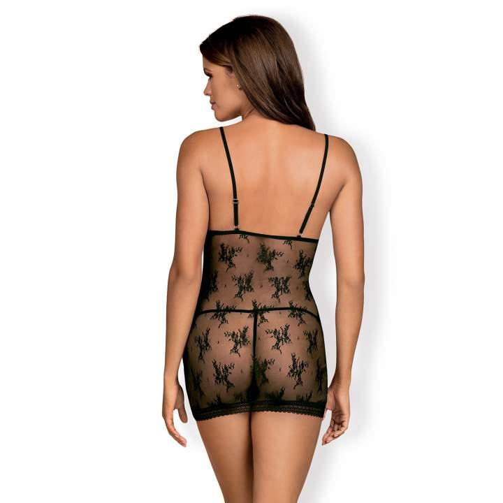 Prześwitująca czarna koszulka Obsessive Jennifairy + stringi