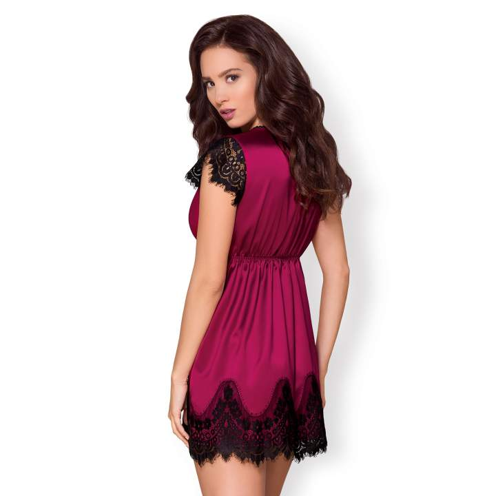 Elegancki różowy szlafrok Obsessive z koronką 861-PEI-5 + stringi