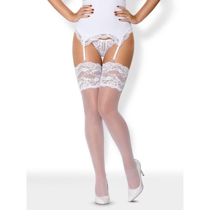 Delikatne białe pończochy Obsessive 810-STO
