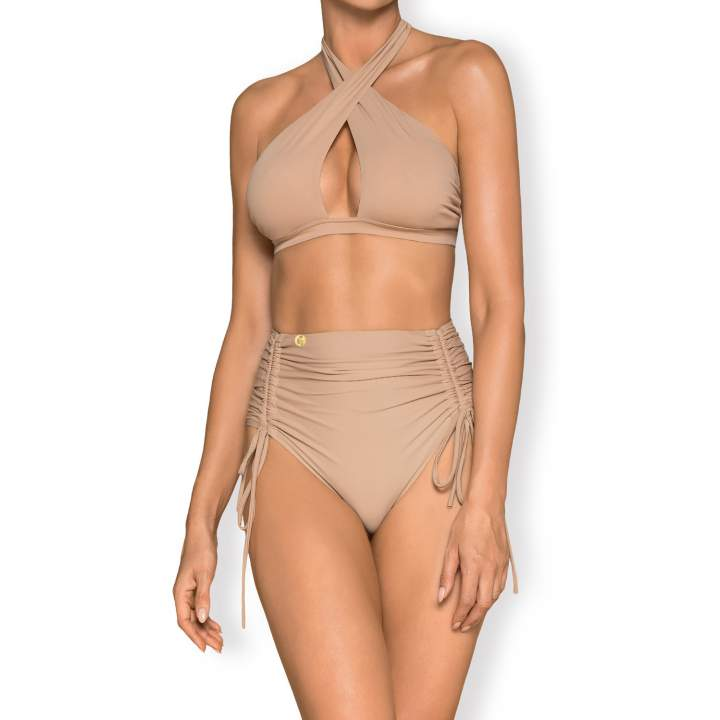 Pinupowe bikini Obsessive Hamptonella w beżowym kolorze