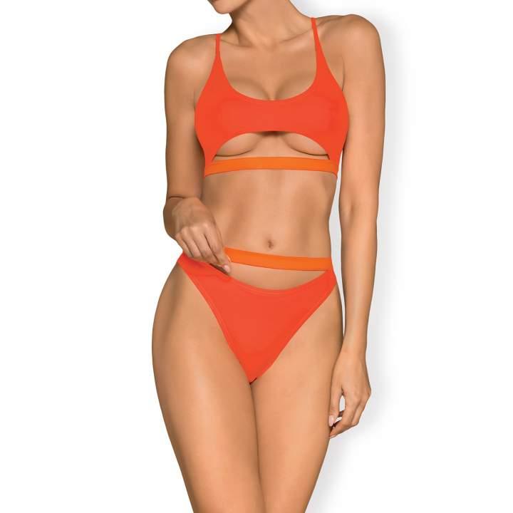 Sportowe seksowne bikini Obsessive Miamelle w odcieniu dojrzałej mandarynki