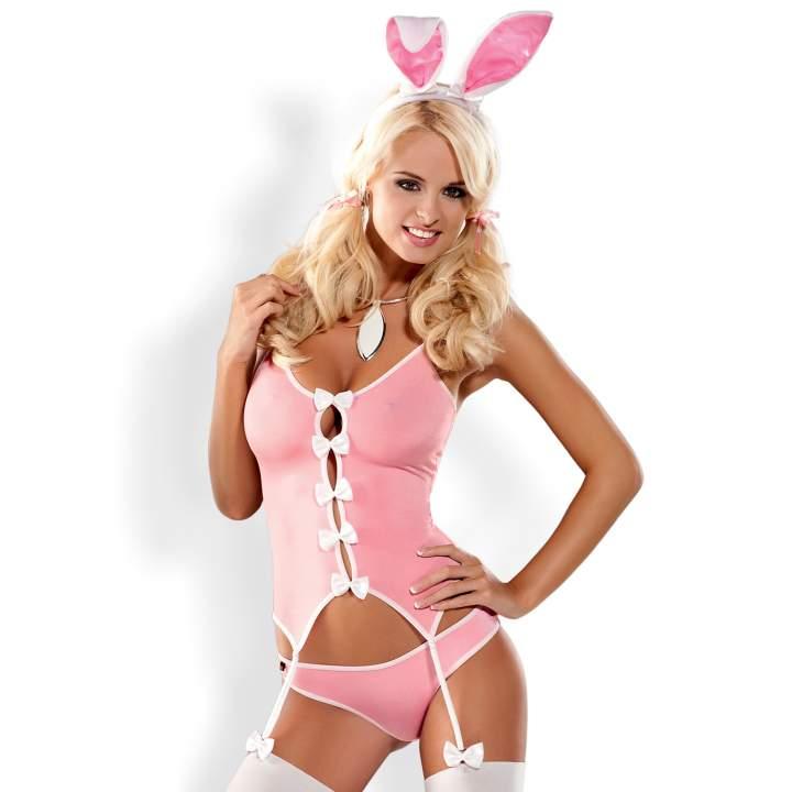 Kostium Obsessive Bunny 4-częściowy, różowy seksowny króliczek
