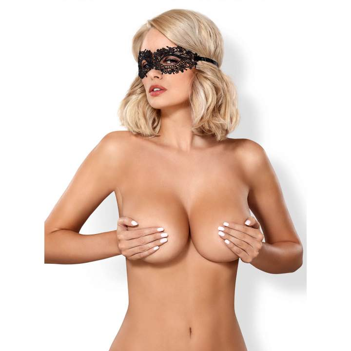 Namiętna koronkowa czarna maska Obsessive A710