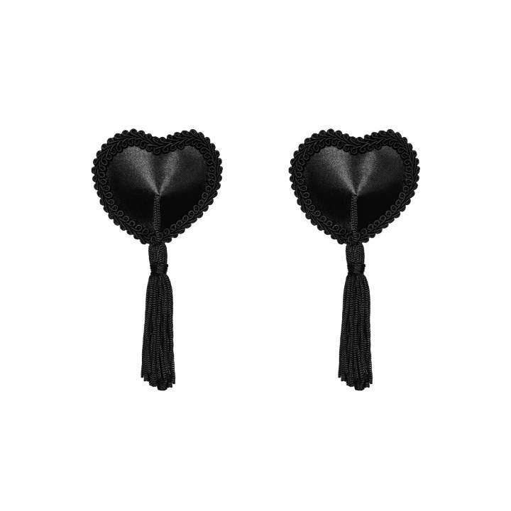 Czarne nasutniki Obsessive Tassel w kształcie serc