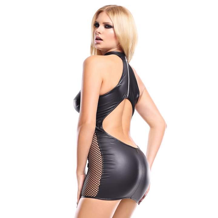 Obcisła krótka czarna sukienka Demoniq Feme ze stójką