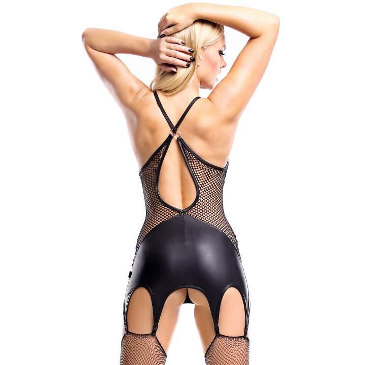Czarna sukienka Demoniq Eris z przypinkami do pończoch + pończochy kabaretki