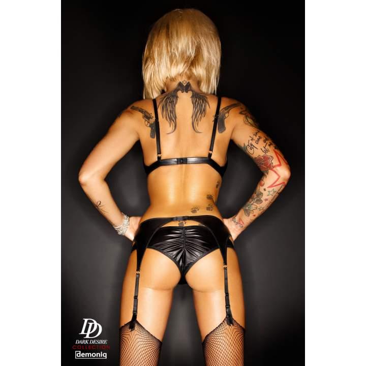 Pikantny czarny czteroczęściowy komplet Demoniq Amanda Premium