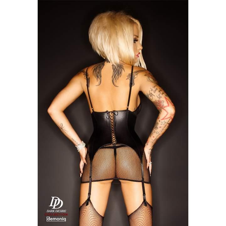 Erotyczna czarna sukienka Demoniq Iris + pończochy kabaretki i stringi