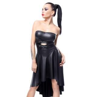 Czarna sukienka z ekoskóry Demoniq Demeter z przedłużonym tyłem