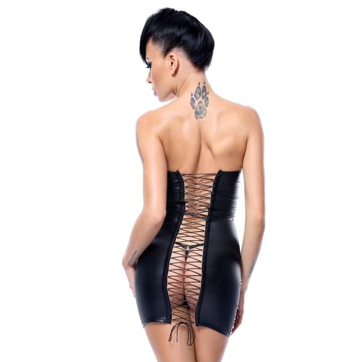 Czarna sukienka mini Demoniq Greta z suwakiem z przodu + stringi