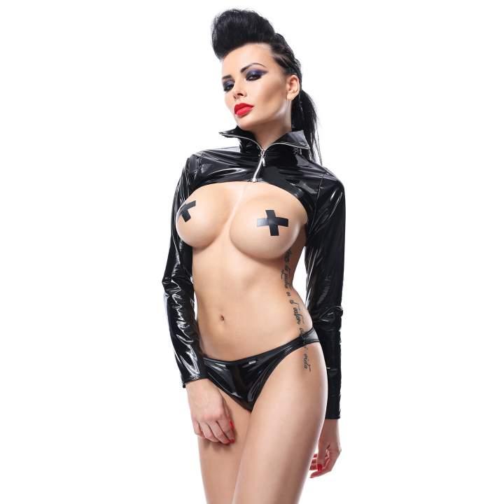 Spektakularny czarny komplet Demoniq Nora z sexy kurtką