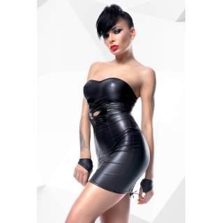 Klasyczna czarna mini sukienka Demoniq Heidi + stringi i krótkie rękawiczki