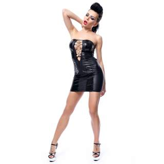 Czarna obcisła sukienka Demoniq Irma sznurowana z przodu