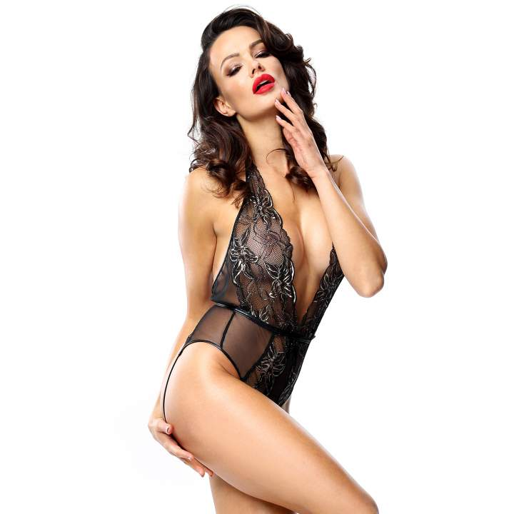 Body Demoniq Melissa w czarnym kolorze z otwartym tyłem