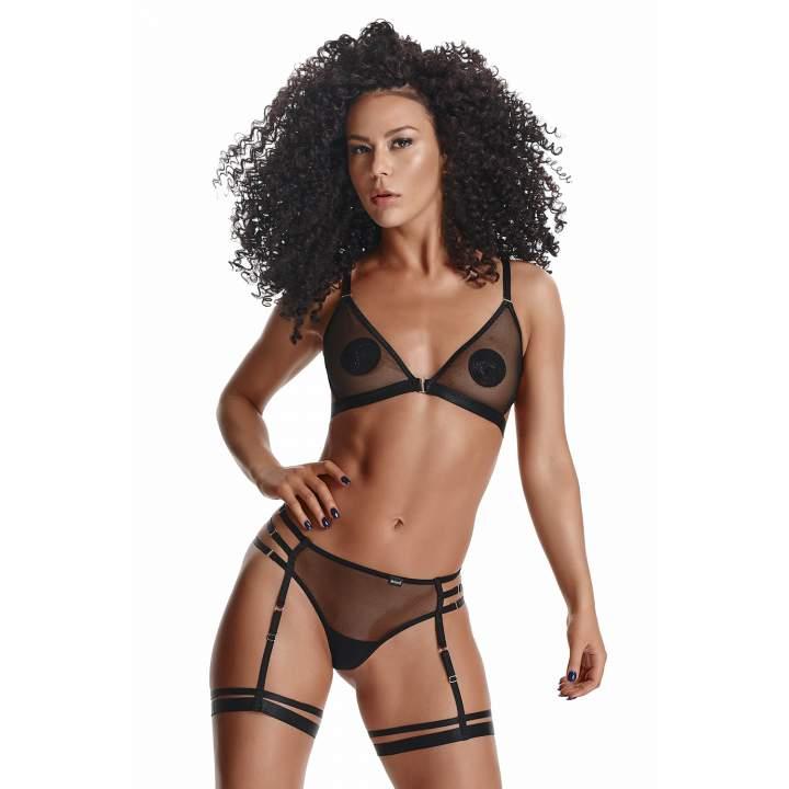 Czarny prześwitujący komplet Demoniq Adora z sexy paseczkami