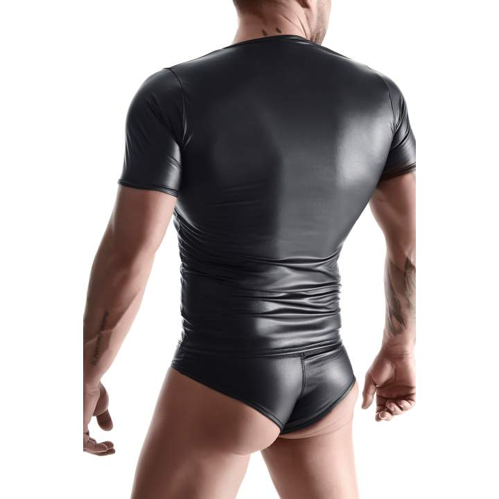 Przylegająca do ciała czarna koszulka z wetlook i figi brazyliany dla mężczyzn