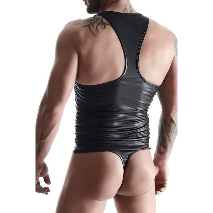 Czarna koszulka z wetlook bez rękawów dla mężczyzn + stringi