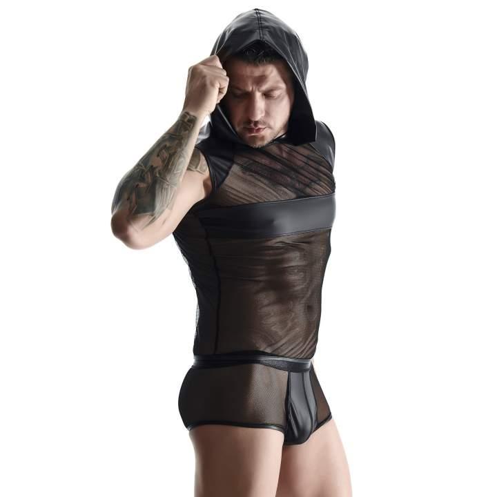 Czarna koszulka bez rękawów z prześwitującej siateczki dla mężczyzn + szorty w komplecie