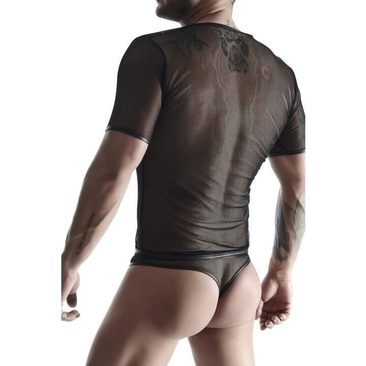 Koszulka w postaci elastycznej, prześwitującej siateczki dla mężczyzn + stringi