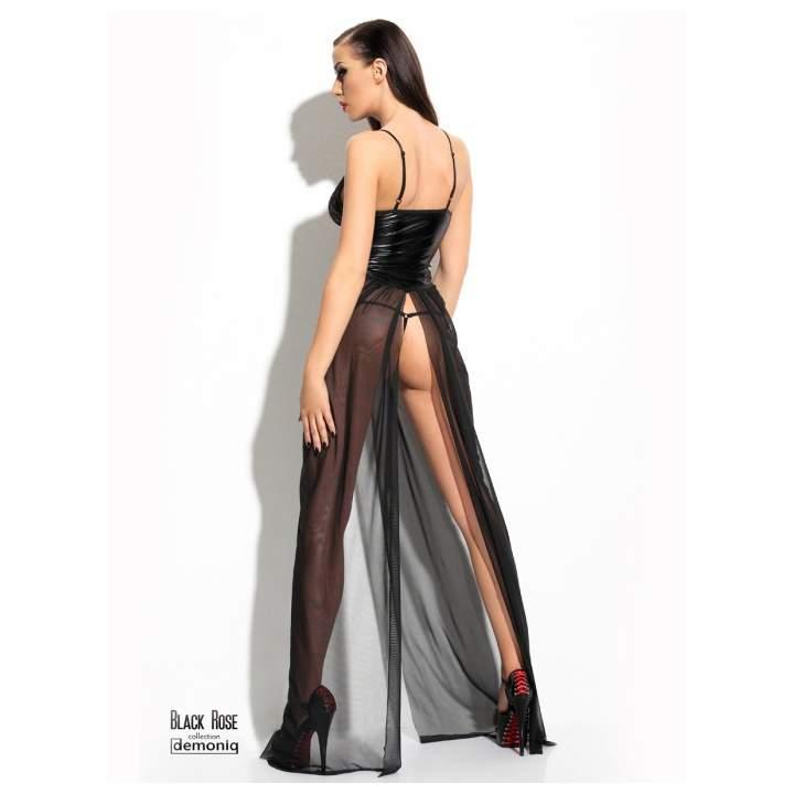 Długa czarna sukienka Demoniq Anastasia z tiulowym dołem + stringi