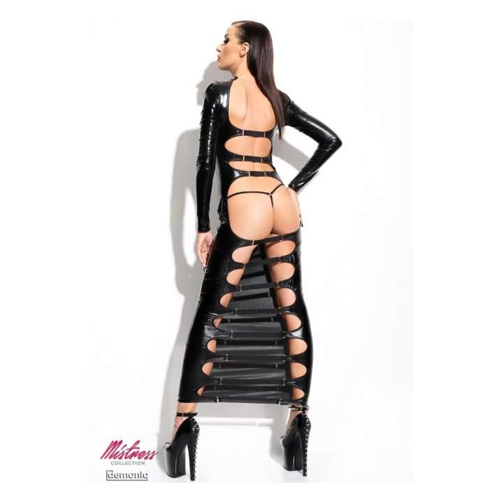 Czarna ekstrawagancka długa sukienka Demoniq Dorothea + stringi