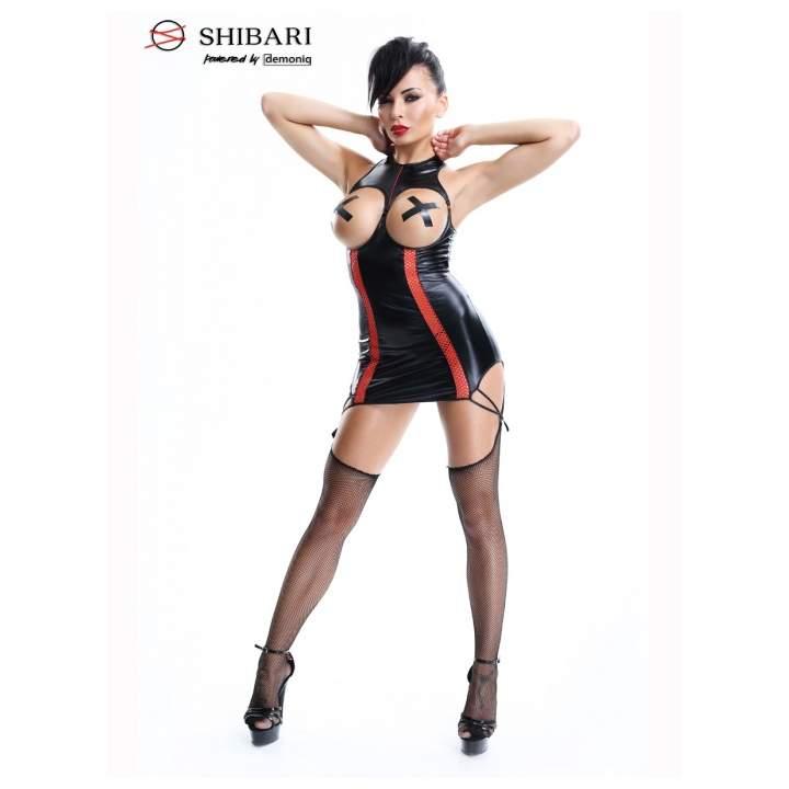Erotyczna sukienka Demoniq Yuriko z czerwonymi paskami + stringi i kabaretki