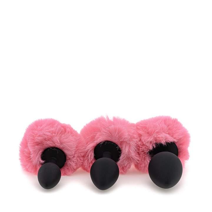 Zestaw czarnych silikonowych korków z różowym futerkiem – 2,6-3,8 cm