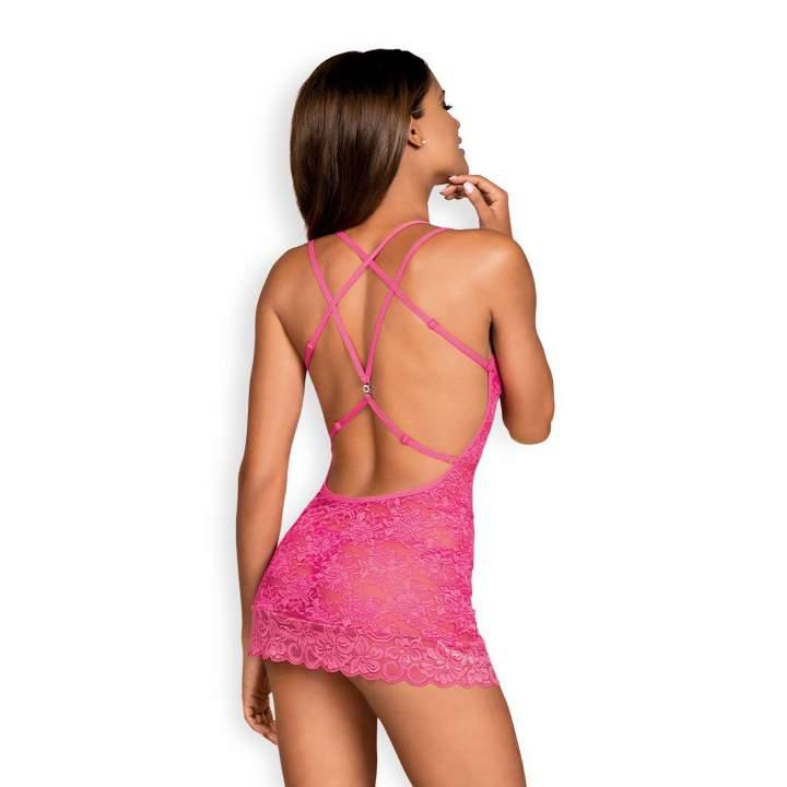 Landrynkowo różowa koszulka Obsessive 860-CHE-5 ze stringami w komplecie