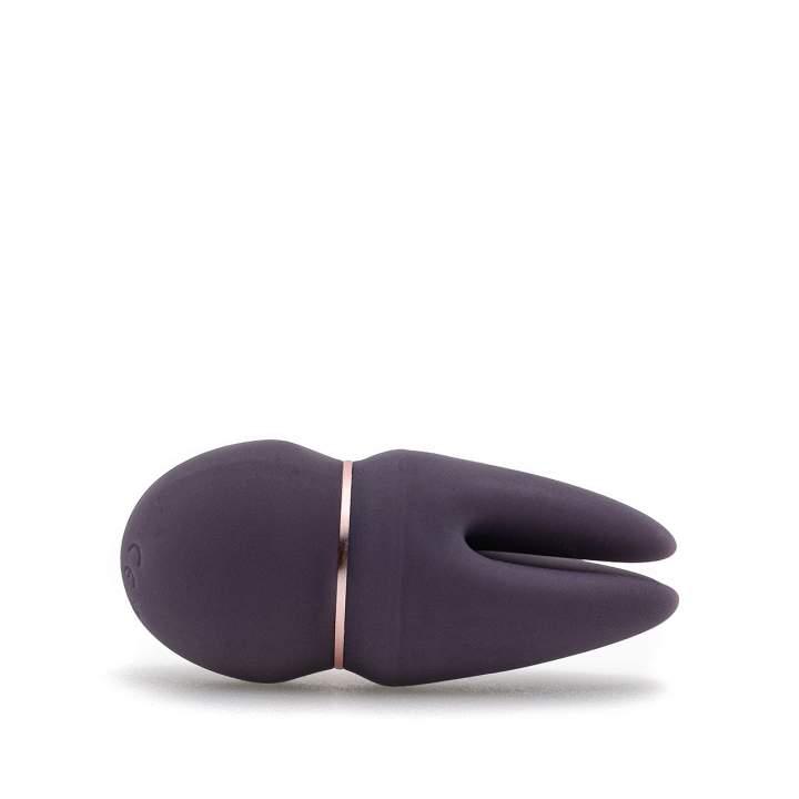 Fioletowy trzypunktowy masażer łechtaczki z wibracjami