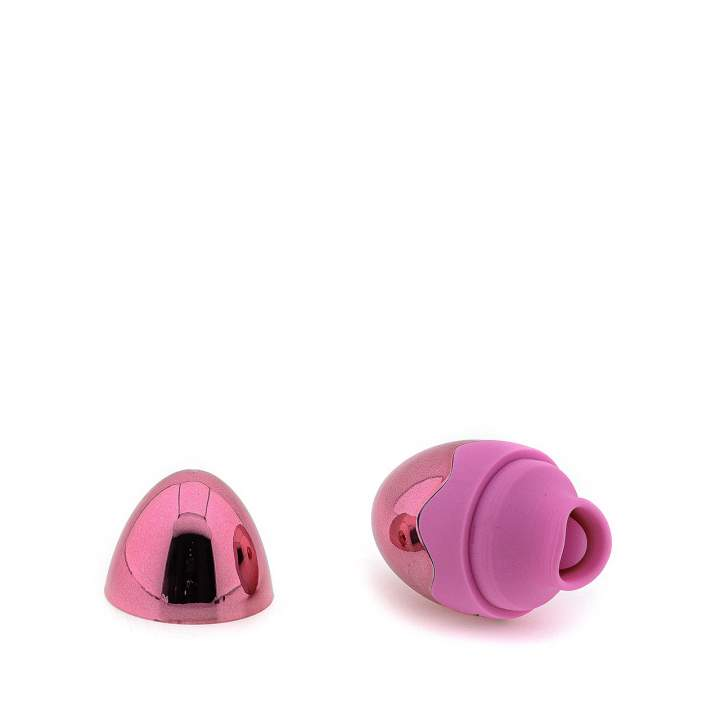 Różowy silikonowy masażer łechtaczki jajko z języczkiem – 7 trybów wibracji