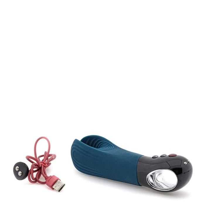 Niebieski silikonowy masturbator Manta Fun Factory – 6 funkcji wibracji