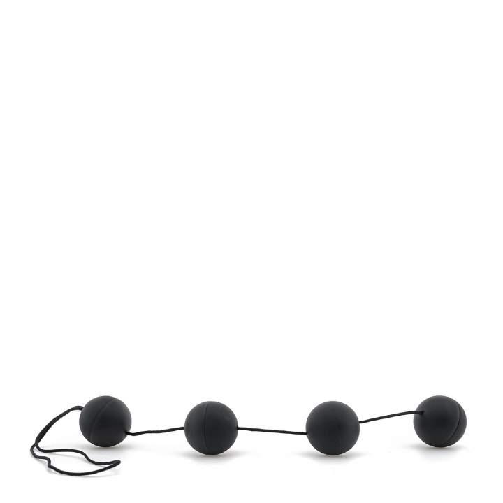 Czarne koraliki analne z lubrykantem – średnica 3 cm