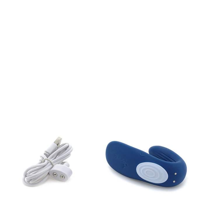 Granatowy silikonowy wibrator dla par Satisfyer Partner Whale