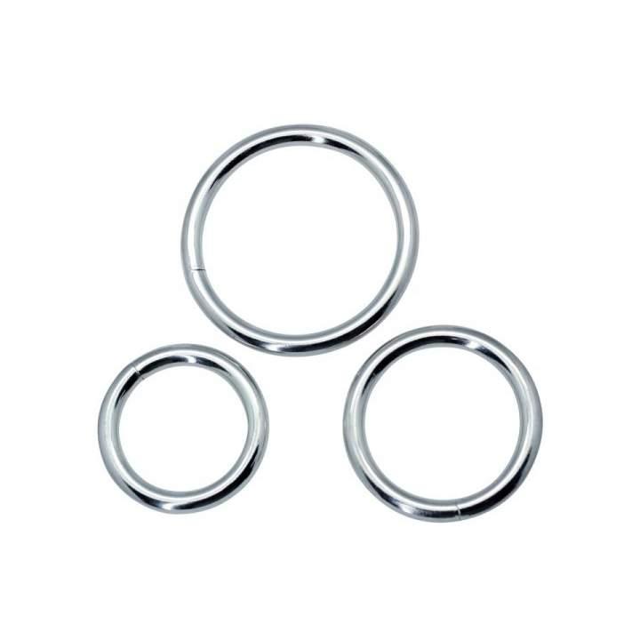 Trzy metalowe pierścienie erekcyjne o średnicy od 3,7 do 4,8 cm