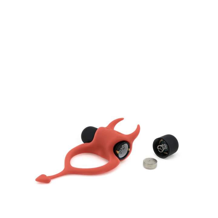 Czerwony wibracyjny pierścień erekcyjny w kształcie diabełka – 3,2 cm