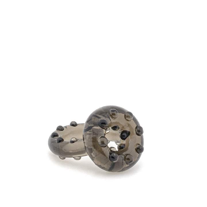 Żelowy czarny pierścień erekcyjny z wypustkami na jądra i penisa