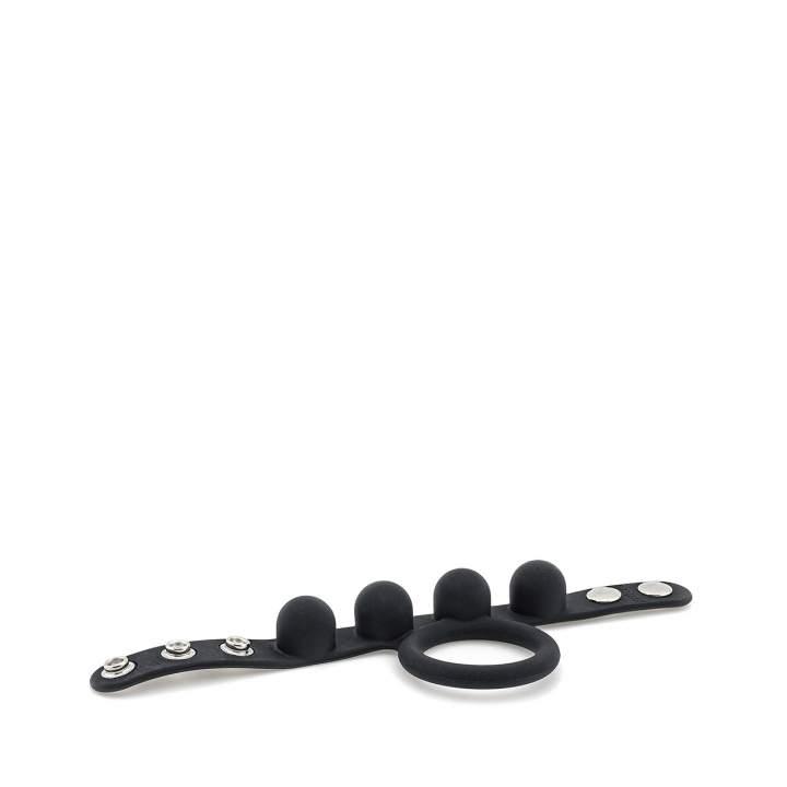 Czarny, regulowany pierścień erekcyjny z wypustkami