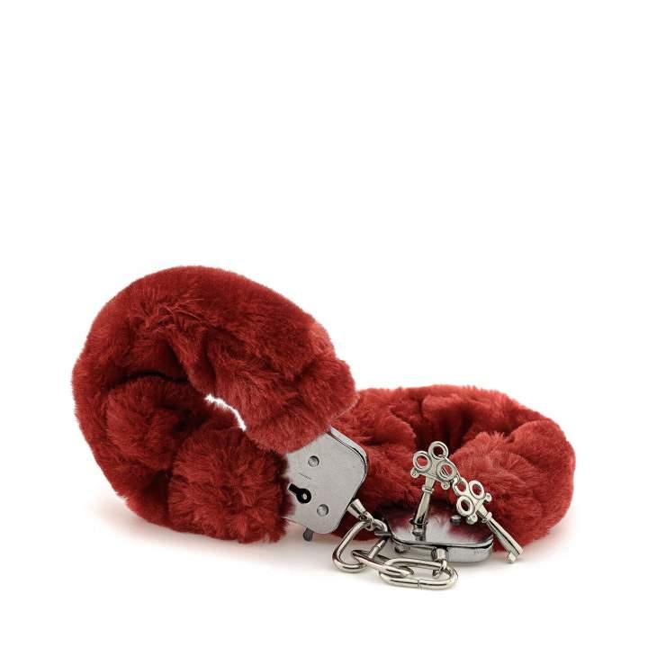 Czerwone pluszowe kajdanki na nadgarstki zamykane na kluczyk