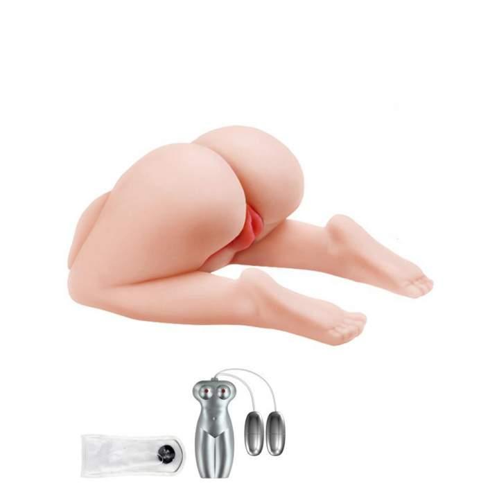 Wypięta realistyczna pupa do penetracji waginalno-analnej z wibracjami