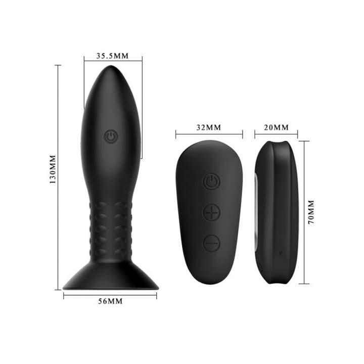 Czarny wibrujący korek analny z pilotem – 3,5 cm