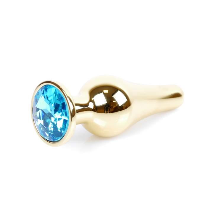 Dłuższy złoty korek analny zakończony niebieskim kryształkiem
