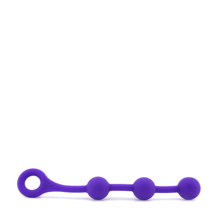 Fioletowe silikonowe koraliki analne – długość 38 cm