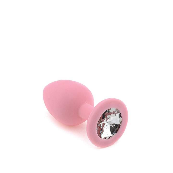 Różowy silikonowy korek analny z kryształem – 3 cm